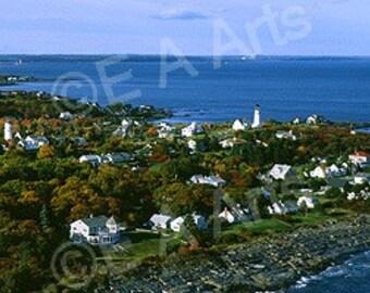 Two Lights, Maine Panoramic Photography Lighthouse Print Cape Elizabeth, Maine-New England-Coastal Maine-Panoramic Art-Vose