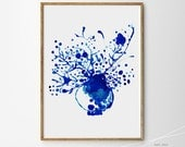 Flower Vase art Blossoms watercolor painting print of ORIGINAL Blue and white art deft blue Living room decor Gallery wall art Home decor