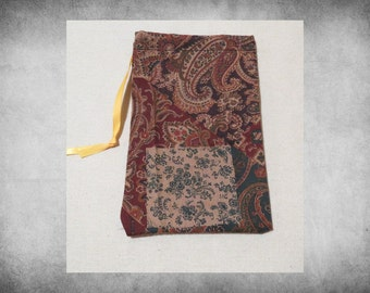 """Printed Fabric - 5x7"""" Brown Patchwork Paisley drawstring bag. Great for crafts, storage, and easy gift wrap!  BAG-151"""