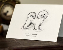 Bichon Frise Gift Card -  Beautifully drawn luxury handmade on heavy textured card. FREE P&P for UK single card orders.