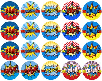 Comic book action words super heros 2 inch digital images *coupon codes in description*