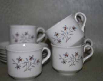 Salem International Cups and Saucers for 6,  Whimsy pattern