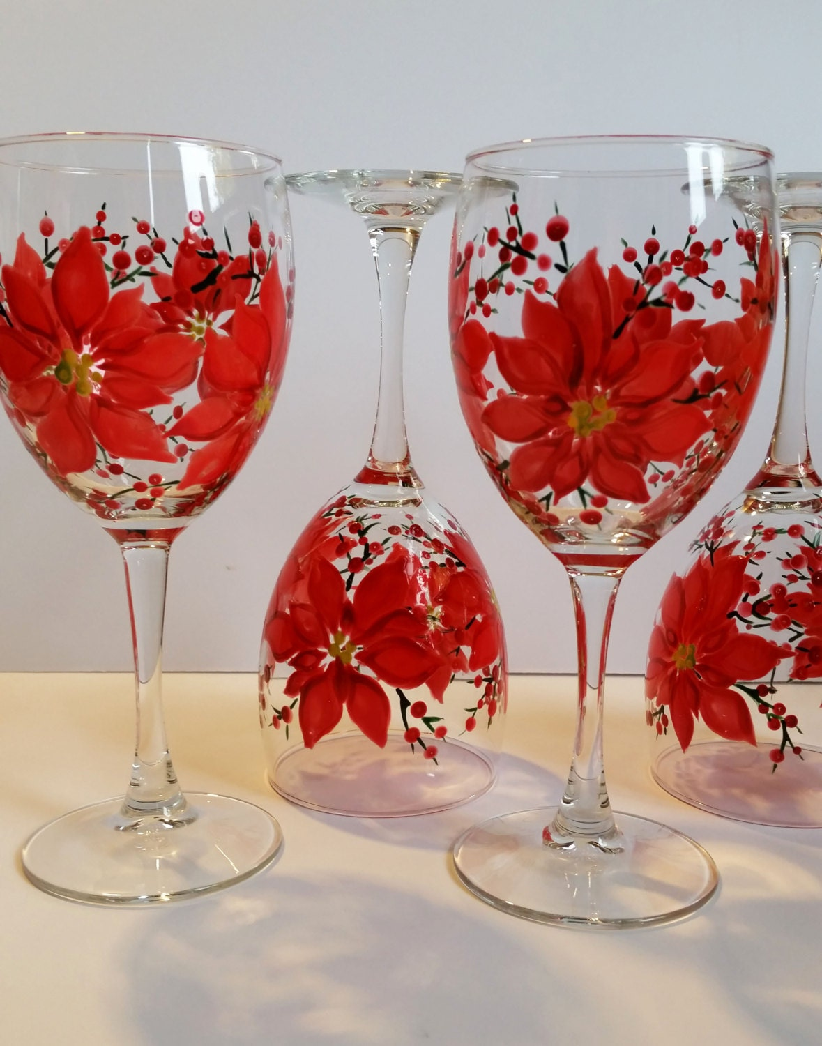 Wine glasses hand painted poinsettia wine by whinealittlegifts for Hand painted glassware