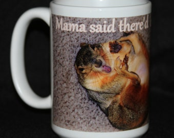Spaz Squirrel Mug! Angel is a non releasable rescue squirrel who is just a goof ball!