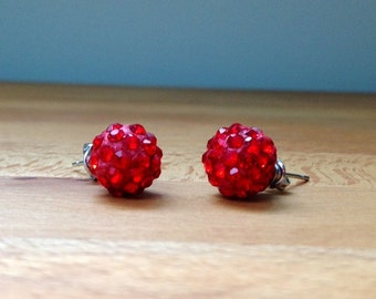 Red disco ball dangley or stud earrings