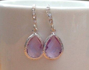 Silver and purple framed crystal earrings