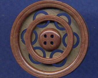 Vintage Button, Plastic Circles Pattern, Med.