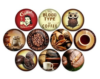 Coffee Pin Back Button Pin Drink Coffee or Fridge Magnet 1 Inch (pack of 10)