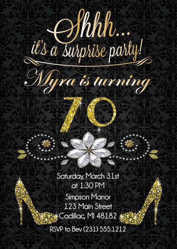 70th Birthday Invitation Gold Glitter Birthday by ...