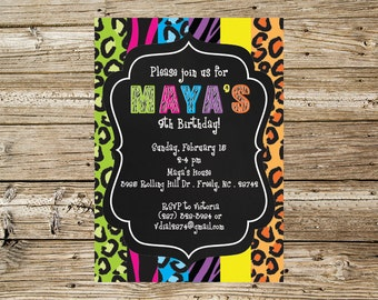 Wild Animal Print Birthday party invitation
