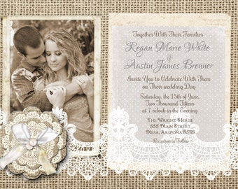 Burlap and Lace Invitation, Rustic, Burlap flower, Photo Invitation, Printable, Digital File Personalized, 5x7,