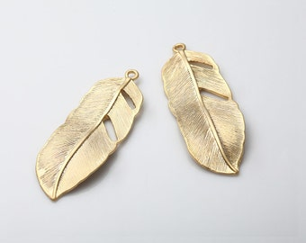 Feather Pendant Matte Gold - Plated - 2 Pieces [GG0061-MG]