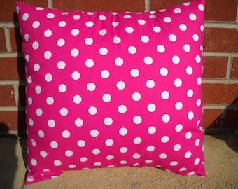 16 x 16 Pink & White Polka Dot Pillow Case/Cover