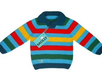 Rainbow striped sweater for boy or girl in size 92,18-24 months old