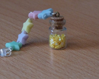 Rainbow Stars. Mobile Phone Charm. Cell Phone Charm. Beads. Glass Bottle. Tiny Bottle. Small Bottle. Glitter. Kawaii. Vial.