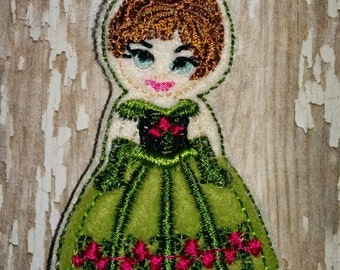 Set of 4 Frozen Anna Green Coronation Dress Coronation Full Body Cutie Felties Feltie Felt Embellishment Bow! Princess Queen and Snowman