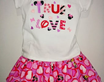 Mickey Minnie Mouse Valentine Boutique Birthday Party True Love Embroidered Shirt and Skirt Set Girl Outfit! Valentine's Valentines Day