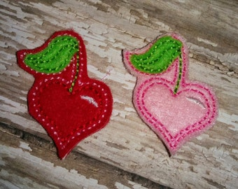 Set of 4 Cherry heart Valentines Valentine Day Feltie Felt Embellishment Bow Birthday Party Love Felties Planner Clip Rockabilly Valentine's