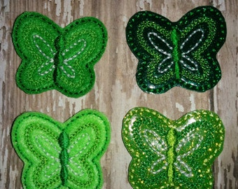 Set of 4 Green Butterfly Felties Glitter St Patty Patricks Patrick Patrick's Day Feltie Felt Embellishment Bow! Birthday Party Planner Clip