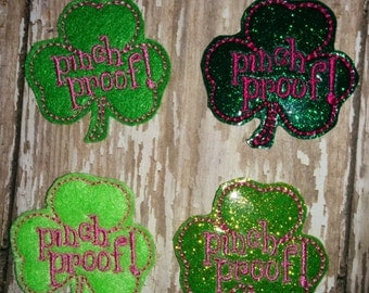 Set of 4 Green Pinch Proof Clovers Shamrocks Glitter St Patty Patricks Patrick Patrick's Day Feltie Felt Embellishment Bow! Birthday Party