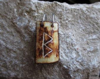 Berkano rune pendant bone engraved and sterling silver for men. Handmade