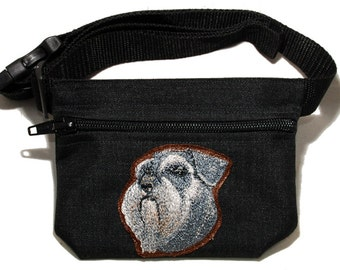 Schnauzer dog breed embroidered dog treat waist bag (treat pouch). For dog shows, training and walking. Great gift for breed lovers.