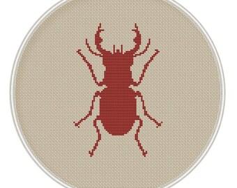 Beetle Cross stitch pattern, cross stitch insect, cross stitch chart, cross stitch PDF, silhouette cross stitch, MCS005