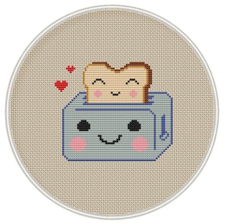 Kawaii toster cross stitch pattern kawaii cross stitch for Cross stitch kitchen designs