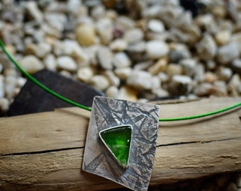 Beach glass pendant + chain