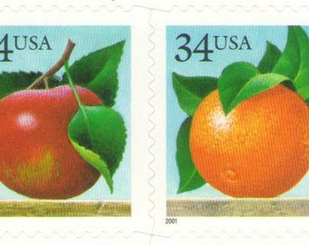 10 Unused 2001 Apples and Oranges - Postage Stamps Number 3492 - 3493