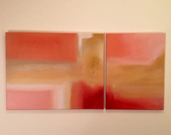 Pink Abstract Diptych (2) 16x20,16x12, Original Art, Hand Painted, Art, Vibrant Colors, Coral Orange Pink Painting, 2 Piece Painting