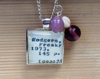 Library Card Catalog Mary Rodgers Freaky Friday Nostalgic Necklace for Book Lover, Student, Academic, Poet, Writer