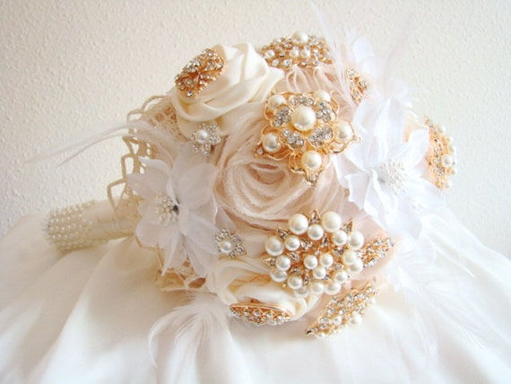 Golden Bridal Bouquet : Gold brooch bouquet jeweled bridal by looksgreatjewels