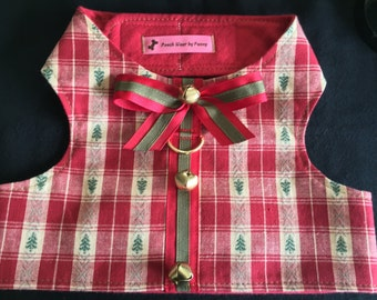 Dog Harness, Size Large, Holiday Trees and Bells