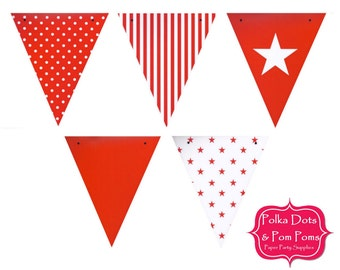 50 RED Card Stock BUNTING Flags / Pennant / Garland / Birthday Party Decoration Ideas and Supplies / Wedding / Baby Shower