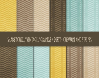 Vintage Grunge Digital Paper: Chevron and Stripes Patterns ~ Shabby Chic, Dirty, Distressed Printable Backgrounds ~ Yellow, Brown, Blue