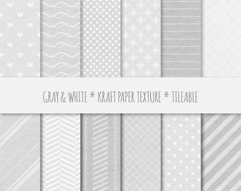 Silver Gray Scrapbook Digital Paper ~ Geometric Seamless Patterns ~ Kraft Paper Texture Tileable ~ Cardboard Texture Background