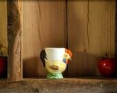 Vintage Made in Japan porcelain chicken eggcup, hand painted