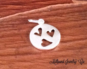 Heart Charm, Heart Cut Out Charm, Heart Pendant, Love Charm, Love Pendant, Valentines Day, Sterling Silver, Three Hearts,