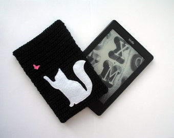 Kindle case with white cat, kindle paperwhite sleeve, kindle paperwhite case cover, e readers covers, knit accessories, cat and butterfly.