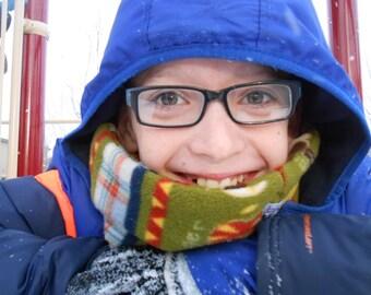 Youth neck gaiter, fleece neck warmer, snowboard gaiter, winter outdoor ski neckwarmer scarf