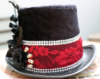 Magician Top Hat, Pirate Lady Hat with Black Roses & Real Skulls, Red Lace Hat, Goth Hat, Festival Hat, Festival Accessories, Halloween Burn
