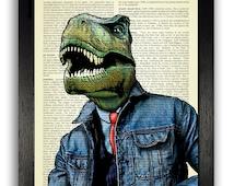 Jacob the T-Rex in a Denim Jacket Dictionary Art Print, Dinosaur Wall Decor, Kids Bedroom Wall Art Print Decal, Gifts for Boyfriend Art Dino