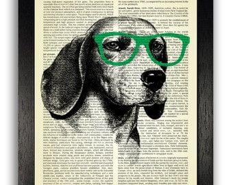 Beagle Dog in Geeky Green Glasses Dictionary Print Art, Cool Dog Poster, Dog Bedroom Wall Decor, Kids Room Artwork, Dog Dictionary Page Art