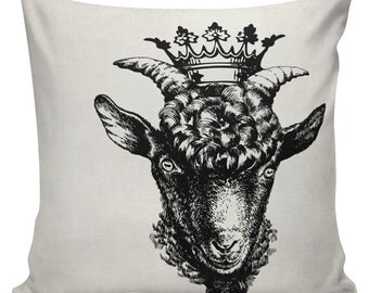 Goat with Crown Cushion Pillow Cover cotton canvas throw pillow 18 inch square #UE0256 Urban Elliott UrbanElliott