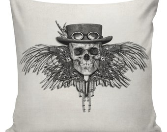 Halloween Steampunk Skull with Wings Cushion Pillow Cover cotton canvas throw pillow 18 inch square UE-143