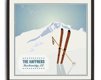 Vintage Ski Poster Personalized Art Print