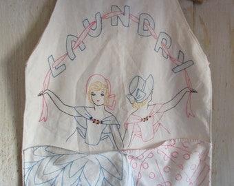"Vintage 1940's ""Laundry"" Bag Cotton Hand Embroidered with Two Pockets for Clothespins and Vintage Hanger"