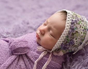 baby girl bonnet purple flowers baby shower gift lace hat infant bonnet photo prop infant hat purple hat purple baby hat vintage bonnet