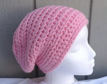 Pink slouchy hat - Crochet slouchy beanie - Womens hats - Teens slouchy hat - Teens accessories